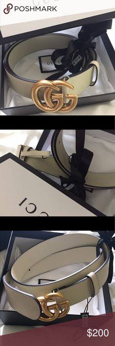 Authentic Gucci belt cream color double GG gold Nwt.. Authentic cream double G gold buckle 2017 Gucci belt, hottest color, serial  engraved inside of belt, 85 cm, fits waist 21-26. Please check pics🤳, what you see is what you get, comes brand new in box🎁, low low price 💵send offers or buy it now... no trades..ty 💋🌹 Gucci Accessories Belts
