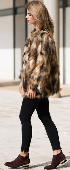 Black Denim Camel Faux Fur And Suede Fall Inspo by Ms Treinta