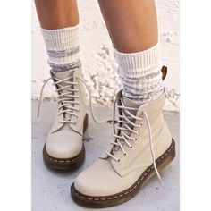 Dr. Martens Pascal 8 Eye Boots ($108) ❤ liked on Polyvore featuring shoes, boots, white winter boots, lacing combat boots, combat boots, leather combat boots and laced boots