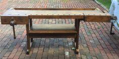 Antique 7 ft Carpenters Workbench with Shelf 2 Vises | eBay