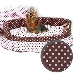 cama para cachorro almofada europa poá marrom/rosa jolie pet