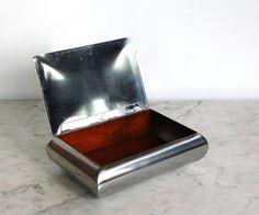 Vintage Rosfritt Stal Stainless Steel And Teak Cigar Box