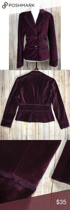 Apt.9 ruffle trim velvet blazer Apt 9 plum colored, ruffle trim, velvet blazer. One tiny spot of white specks on the body (see photos). Unnoticeable unless up close. Otherwise excellent condition. Approximate measurements provided in photos. OFFERS ENCOURAGED!   Tags: soft, professional, date night, office, brunch, girls night, fun, casual, flirty, girly, ruffled, purple Apt.9 Jackets & Coats Blazers