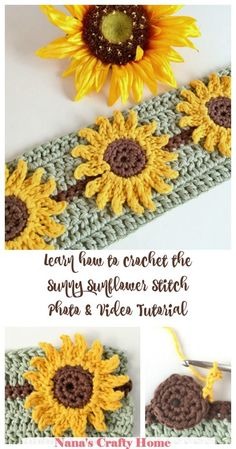 Learn how to crochet the Sunflower Crochet Stitch complete photo and video tutorial The Sunny Sunflower Stitch is so happy bright Perfect addition to so many different projects - blankets hats scarves More nanascraftyhome Easy Knitting Projects, Easy Knitting Patterns, Crochet Stitches Patterns, Crochet Projects, Fun Patterns, Crochet Sunflower, Crochet Flowers, Knitting Needle Conversion Chart, Learn To Crochet