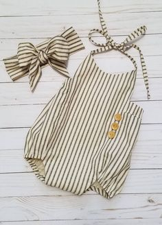 Sweet Handmade Striped Baby Romper & Headwrap | GeeBabyDesigns on Etsy