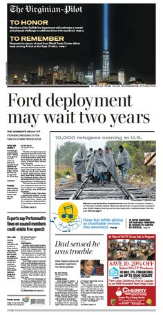 The Virginian-Pilot's front page for Friday, Sept. 11, 2015.