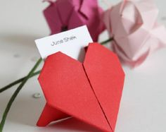 20 x Wedding Origami Heart Place Cards