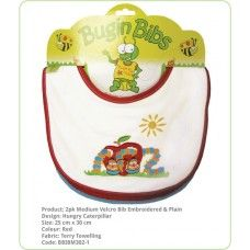Bibs Velcro Fastening:- Double layer of absorbent terry toweling and generous sizing. Ideal for wrangling your toddler and the medium bibs have a Velcro adjustable neck, perfect for the young ones.