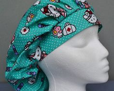 Bouffant Scrub Hat Nurse Hello Kitty by SoLynnifer on Etsy Stylish Scrubs, Medical Uniforms, Scrub Hats, Color Change, Hello Kitty, Cotton Fabric, Etsy Seller, School Readiness, Med School