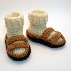 Baby Hippie Sandals    For all of the tree-hugging, granola eating (well, maybe not yet), peace-loving babes out there. The socks and shoes are made as one piece to keep little toes extra warm. Groovy. Size: The standard size booties have soles approximately 4- 4 ½ inches from heel to toe, which will usually fit a baby from birth to 6 months.