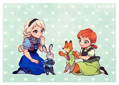 Elsa and anna playing with Zootopia