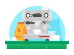 "Illustration | ""Espresso Machine"" by Rocky Roark #Design Popular #Dribbble #shots"