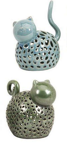 Whimsical Cat Tea Light Holders - Set of 2