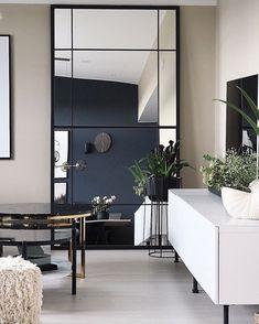 Diy Interior, Apartment Interior, Nordic Interior, Decor Room, Diy Home Decor, Large Bedroom Mirror, Ikea Mirror Hack, Diy Mirror, Modern Kitchen Design