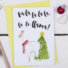 Llama Animal Pun Christmas Card More