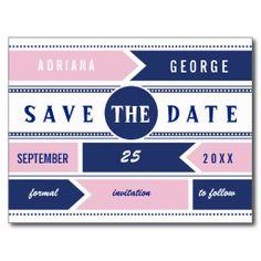 Modern typography navy blue, pink wedding Save the Date postcard. #SavetheDate, #typography, #modern, #pink, #navyblue