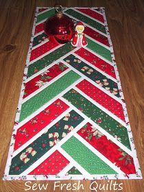 It took me one full day to complete this, my first Christmas runner, from start to finish. I used the Broken Herringbone tutori...