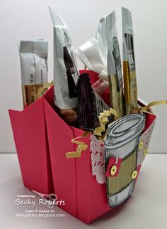 Inking Idaho: Perfect Blend Retiring Soon! Homemade Bags, Homemade Gifts, Hamburger Box, Candy Crafts, Paper Crafts, Coffee Cup Crafts, Stamping Up, Rubber Stamping, Strawberry Slush