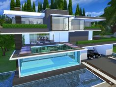 Modern Serendia house by Suzz86 at TSR via Sims 4 Updates