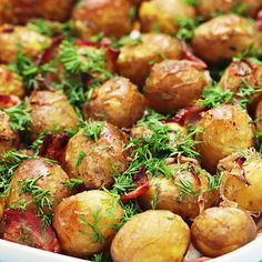 Baked Garlic Parmesan Potatoes Recipe Side Dishes with garlic, melted butter, baby potatoes, bread crumbs, grated parmesan cheese, black pepper, salt, paprika, fresh dill