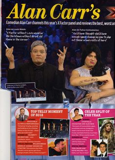 Alan Carr in Closer Mag wearing our Charlotte! Louis Walsh, Alan Carr, Tulisa Contostavlos, Comedians, Closer, Charlotte, Celebrities, Celebs, Celebrity