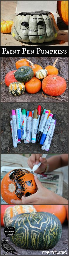 No-Carve Pumpkin Decorating Ideas using paint pens!  Less mess and kids can decorate their own pumpkins.