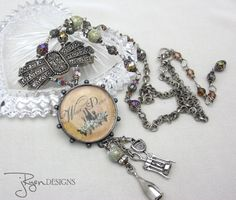 Unique Assemblage Necklace  Mixed Media Necklace  by jryendesigns