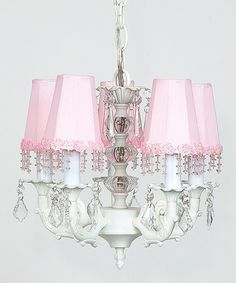 Take a look at this White & Pink Beaded Chandelier on zulily today!
