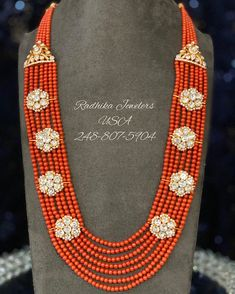 "Radhika Jewelers on Instagram: ""Beautiful corol mala in with 22 carat Hallmarked gold pieces stuffed with monzonites and pearls. For product details pls what's app at…"" Pearl Necklace, Beaded Necklace, Jewels, Photo And Video, Chain, Beads, Detail, Gold, Profile"