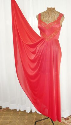 fae7af5b8d5 Olga Body Silk Nightgown Primary Red Grand by Voilavintagelingerie Silk  Nightgown