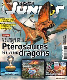 Science et Vie Junior, n°302. Ptérosaures, les vrais dragons. Egalement au sommaire : des drones pompiers pour sauver l'Amazonie ; et si on transformait le plomb en or ? une légende tapie au fond des mers