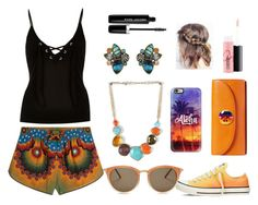 """""""Printed Shorts-Sunset Colors"""" by purpledaisy-03 ❤ liked on Polyvore featuring Valentino, River Island, Chloe + Isabel, Wildfox, Converse, Casetify, Tory Burch, Marc Jacobs and MAC Cosmetics"""