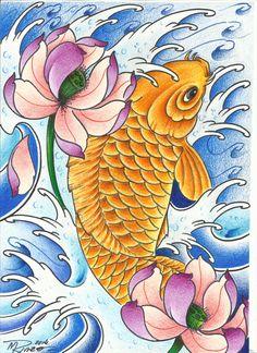 Carpa e flor de lótus