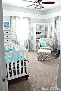 Turquoise and grey nursery #home #decor