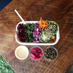 Little Bird Unbakery has flown to the central city, nesting itself in a quaint little space on Customs Street in the Britomart precinct. Central City, Plant Based Eating, Life Design, Vegan Foods, Auckland, Raw Food Recipes, Globe, Salads, Veggies