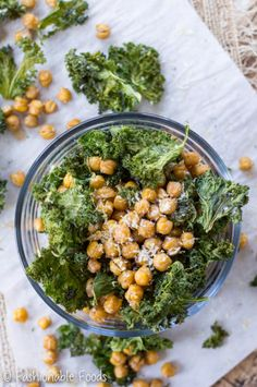 Who knew eating your vegetables could be so tasty? These lemon parmesan crispy chickpeas and kale chips have the perfect amount of crunch and saltiness. It's the perfect snack for fall!