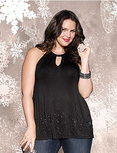 Bare those sexy shoulders with our sophisticated, bead-embellished halter top. Perfect a party or night on the town, it features an alluring keyhole neckline and cutaway arm holes. lanebryant.com