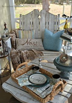 Nesting on the Porch: Mikasa Song Bird - It's nesting season on the porch with temperatures creeping to the and Spring around the corn - Back Porches, Decks And Porches, Screened In Porch, Pergola Swing, Porch Swing, Pergola Patio, Gazebo, Pergola Plans, Pergola Kits
