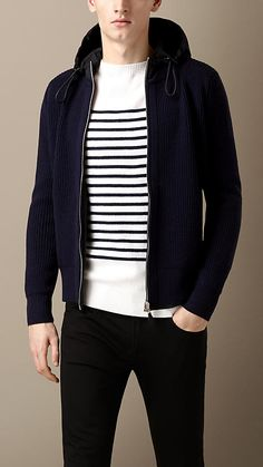 Burberry Dark Indigo Reversible Knitted Jacket with  Hood - A reversible hooded jacket in contrast fabrics. One side features a ribbed knit in wool, while the reverse is crafted from lightweight stretch nylon.  Discover the men's outerwear collection at Burberry.com