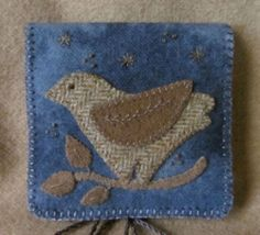 Primitive Hand Dyed Wool Applique Bird Needlebook Hussif Pinkeep Pocket+Pin PRHG