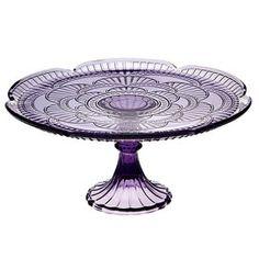 purple depression glass replica cake plate