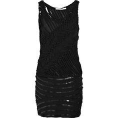 Diane von Furstenberg Disco Winona silk-chiffon dress (610 BRL) ❤ liked on Polyvore featuring dresses, vestidos, diane von furstenberg, black dresses, black, sequined dresses, slip on dress, silk chiffon dress, diane von furstenberg dress and striped dresses