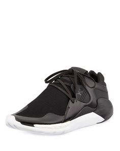 cheaper fdd42 e2423 QR+Run+Leather-Mesh+Sneaker,+Black+by+Y