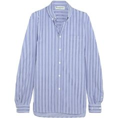 Balenciaga Striped cotton-poplin shirt ($385) ❤ liked on Polyvore featuring tops, blouses & shirts, shirts, blue, tie shirt, tie top, blue striped top, oversized shirts and blue stripe shirt