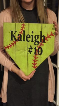 Softball sign handmade hand painted softball sign by MtnMetalWorks