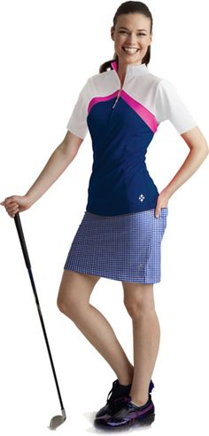 4all by JoFit Ladies Golf Outfits (Shirt & Skort) - Navy, Gingham Navy & White