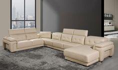 Modern Large Sofa U Shaped Genuine Leather