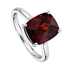 4 Ct Cushion Cut January Birthstone Garnet Sterling Silver Solitaire Ring # Free Stud Earrings by JewelryHub on Opensky