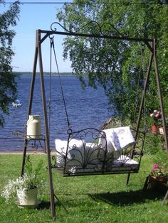 would love to live near a lake! Lake Pictures, Lake Pics, Outdoor Tea Parties, Garden Junk, Iron Furniture, Lake Cottage, Garden Seating, Outdoor Living, Outdoor Decor