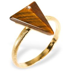 Ona Chan - Triangle Ring with Tiger's Eye & Swarovski ($145) ❤ liked on Polyvore featuring jewelry, rings, accessories, tiger eye ring, 14k ring, 14 karat gold ring, trio rings and triangle jewelry